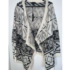 Grey & White Tribal Print Cardigan